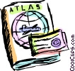 Vector Clip Art image  of an Atlas and travel ticket