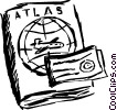 Atlas and travel ticket Vector Clip Art picture