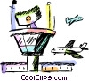 Vector Clipart image  of a commercial jets landing at the