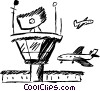 commercial jets landing at the airport Vector Clipart picture