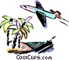 Vector Clipart illustration  of a Jet  flying by a tropical