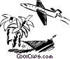 Jet  flying by a tropical island Vector Clip Art image