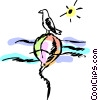 Vector Clip Art graphic  of a Bird resting on buoy