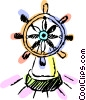 Vector Clip Art image  of a Captains wheel