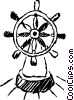 Vector Clip Art graphic  of a Captains wheel