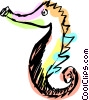 Vector Clip Art image  of a Sea horse