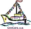 Vector Clip Art image  of a Cruise ship