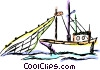 Commercial fishing boat Vector Clipart illustration