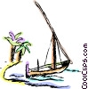 Vector Clipart graphic  of a Sailboat beached on a tropical