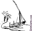 Sailboat beached on a tropical island Vector Clipart illustration