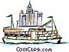 Vector Clipart graphic  of a Ferry boat