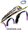 Vector Clip Art picture  of a Train traveling over a bridge