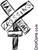 Railway crossing sign Vector Clipart picture