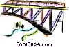 Vector Clipart image  of a Train traveling over a bridge