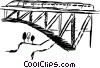 Train traveling over a bridge Vector Clipart graphic