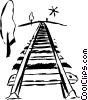 Train tracks Vector Clipart picture