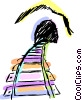 Vector Clipart graphic  of a Train tracks leading into a