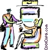 Vector Clip Art graphic  of a Steward server passenger on a
