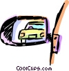 Vector Clipart illustration  of a Side mirror of a car