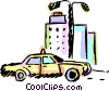 Vector Clip Art picture  of a Taxi parked in front of