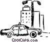 Taxi parked in front of building Vector Clip Art graphic