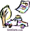 Vector Clip Art image  of a Car accident and insurance