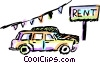 Vector Clip Art image  of a Cars for rent
