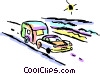 Vector Clipart graphic  of a Family car towing a camper