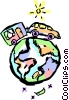Family car traveling around the world Vector Clipart illustration