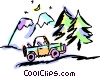 Vector Clip Art graphic  of a Jeep parked by mountains