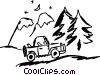 Vector Clip Art picture  of a Jeep parked by mountains