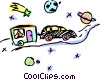 Family car towing camp trailer at night Vector Clip Art graphic