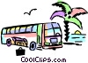 Vector Clipart illustration  of a Tour bus stopped at the beach
