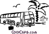 Tour bus stopped at the beach Vector Clip Art image