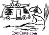 Vector Clip Art graphic  of a Camp Trailers