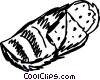Vector Clip Art image  of a Sleeping Bag & Mattress