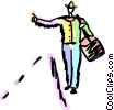 Walking and Hitchhiking Vector Clipart image