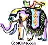 Vector Clipart image  of a Elephants