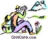Hikers Vector Clipart graphic