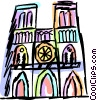 Vector Clipart picture  of a Notre Dame