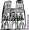 Vector Clipart graphic  of a Notre Dame