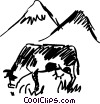 Vector Clipart image  of a Cows