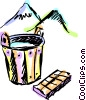Buckets and Pails Vector Clipart illustration