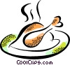 Vector Clip Art image  of a roasted chicken