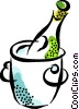 champagne chilling in a pale of ice Vector Clip Art graphic