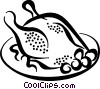 Vector Clipart graphic  of a roasted chicken