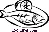 Vector Clip Art graphic  of a fish dinner