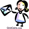 Girl with mail Vector Clip Art picture