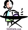 Woman ironing her clothes Vector Clipart picture