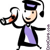 Graduate holding up his diploma Vector Clip Art picture